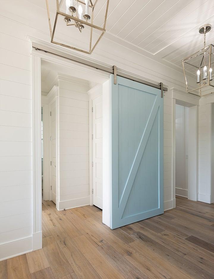 Painted blue sliding door