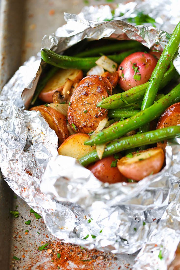 Sausage, Potato, and Green Bean Foil Packets