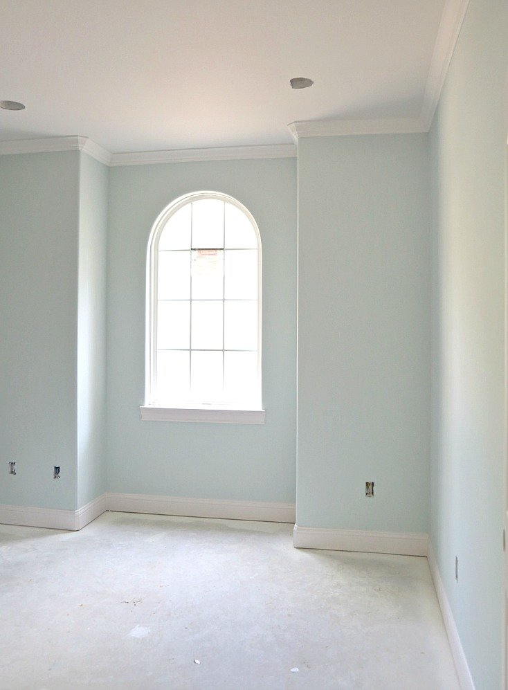 Wall color is Benjamin Moore Beach Glass