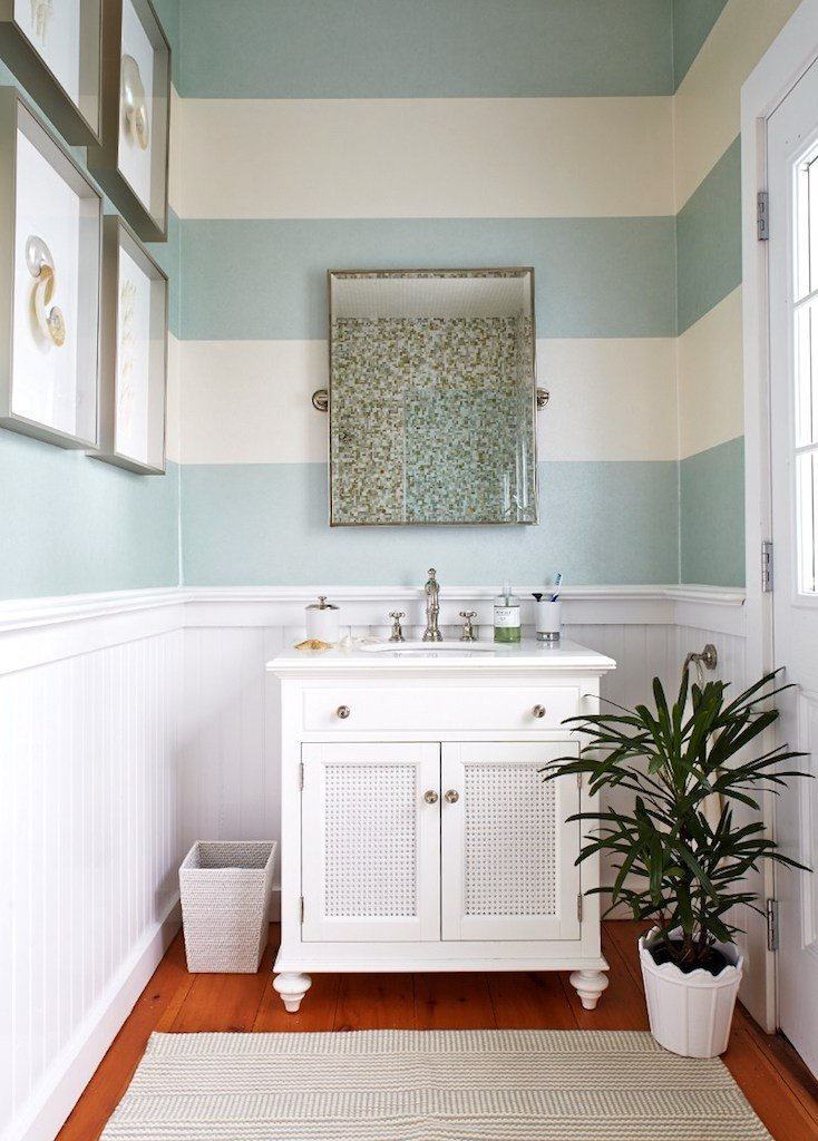 Creative DIY Wall Treatments on striped bathroom walls, designs painted striped walls, stripe designs for dining rooms,