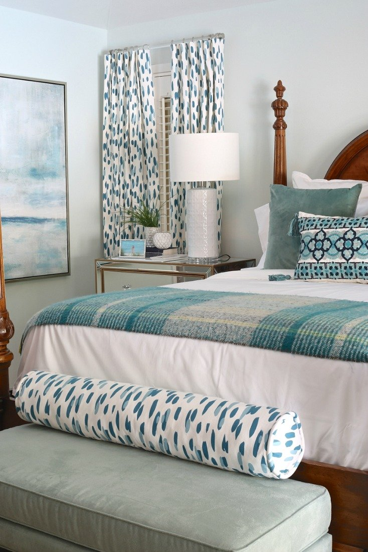 Master bedroom in aqua and blue.