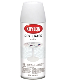 Krylon dry erase spray paint. Write on surface