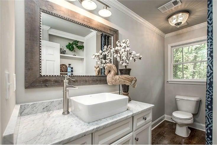 Bathroom wall color is Sherwin Williams Gossamer Veil.