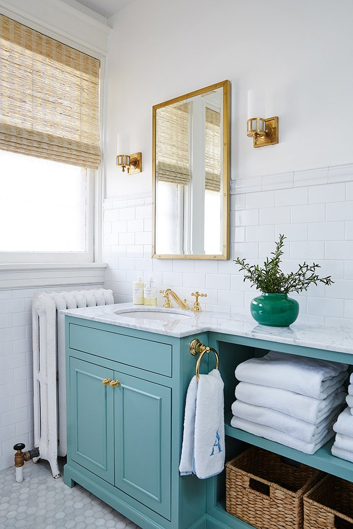 Cabinet Color Is Farrow and Ball Chapel Green.