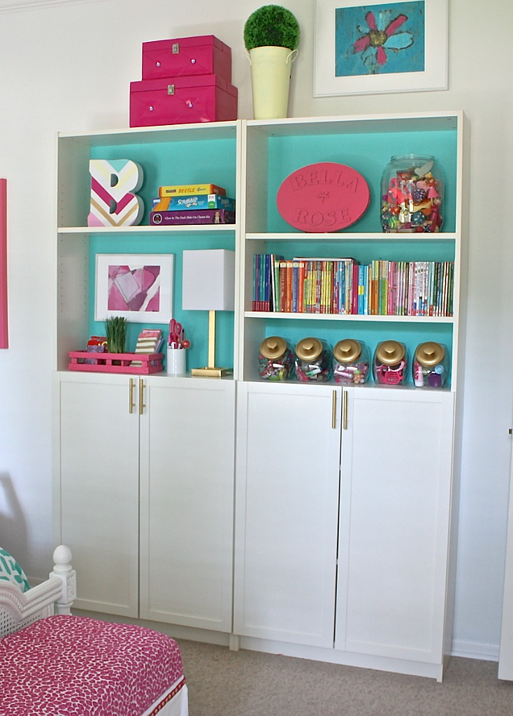Narrow Ikea bookshelves for organizing children's spaces.