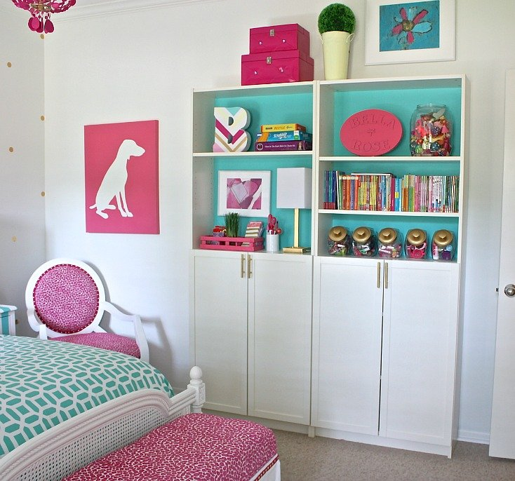 Narrow bookshelves for organizing children's spaces.