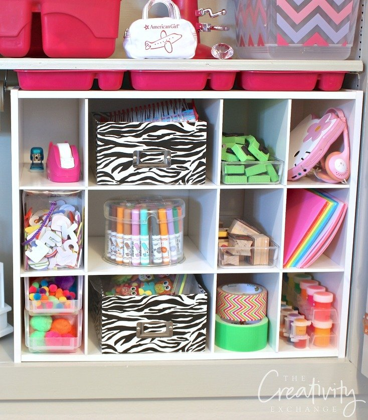 Slip in shoe storage into cabinets to organize kid craft supplies.