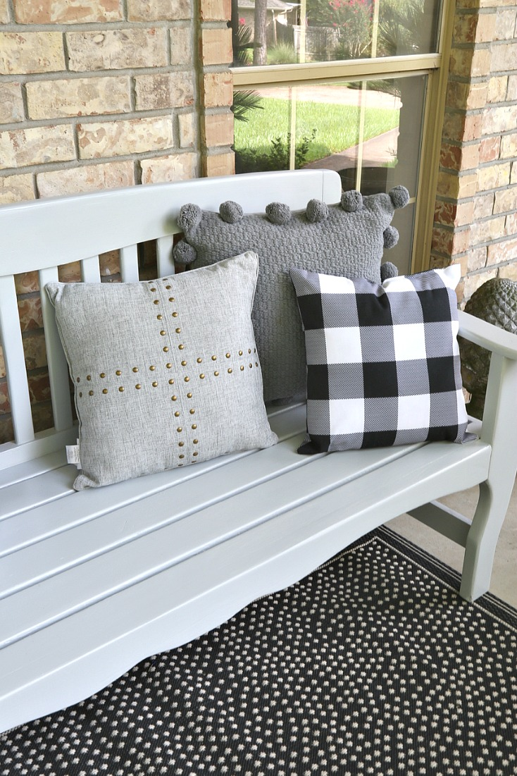 Bench painted with PPG Timeless in the color Silver Reflection.
