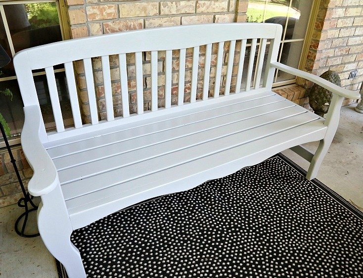 Bench painted with PPG Timeless paint in the color Silver Reflections.