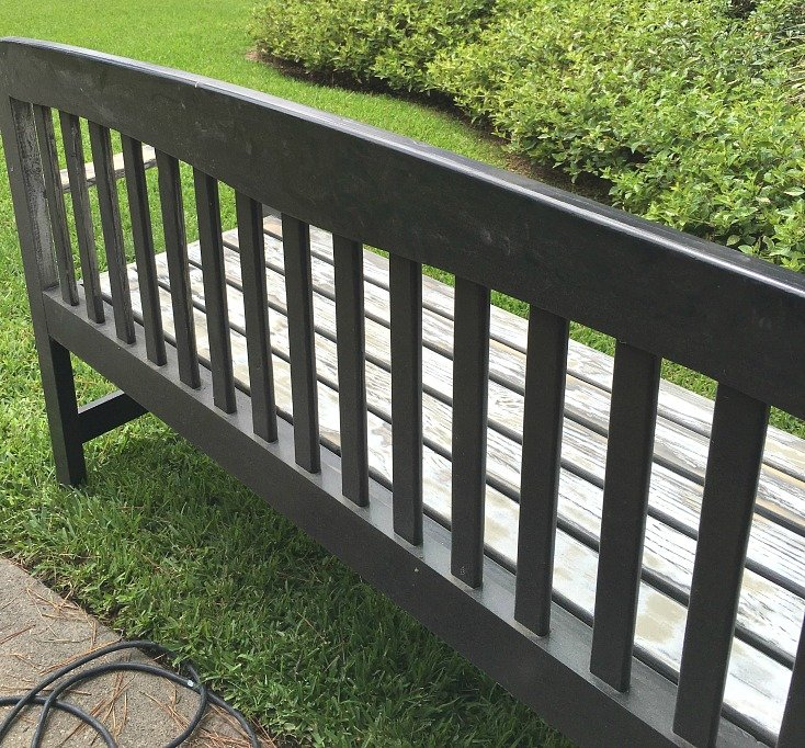 Bench revamp with PPG Timeless Paint.