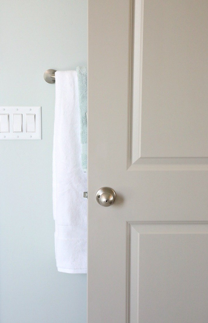 Gray painted interior door.