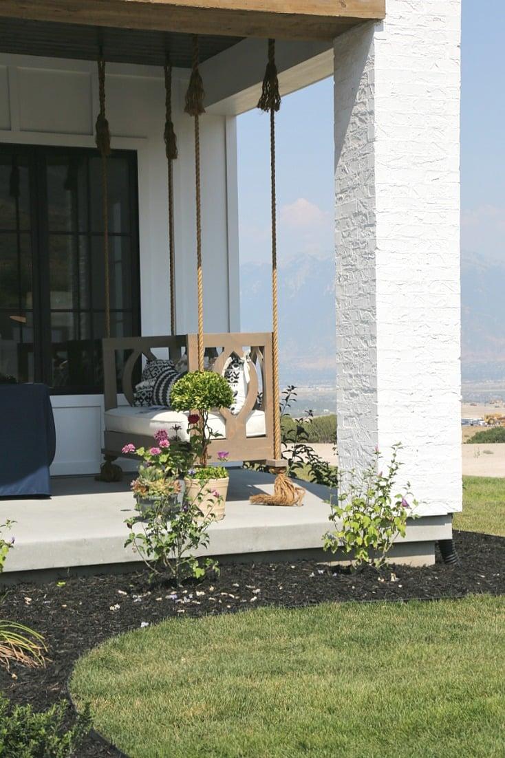 Modern farmhouse porch swing.