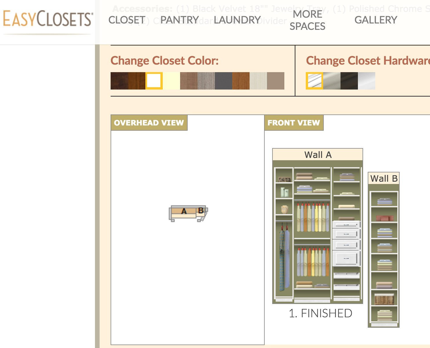 EasyClosets Design Layout