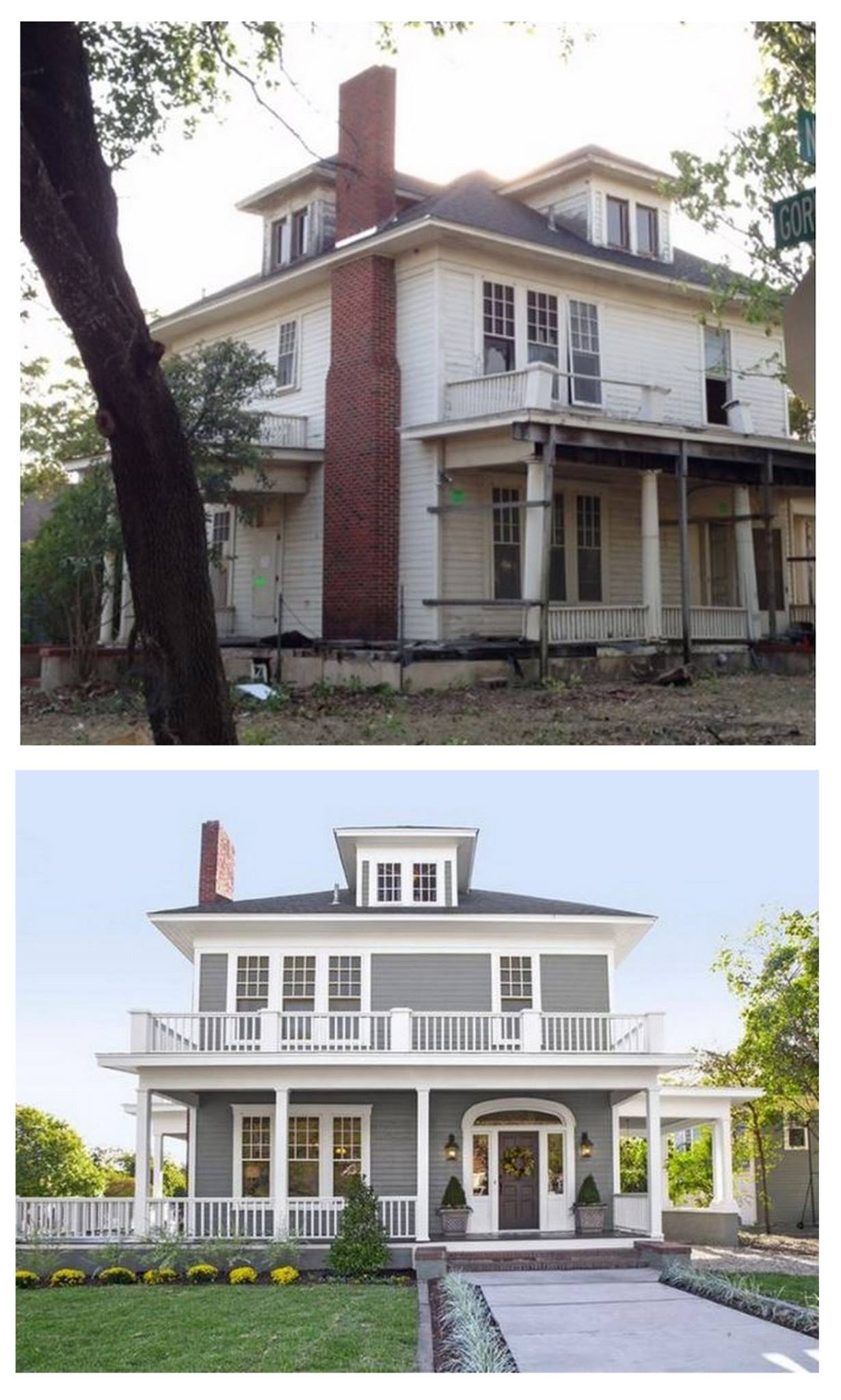 Chip and Joanna Gaines Before and After Renovation.