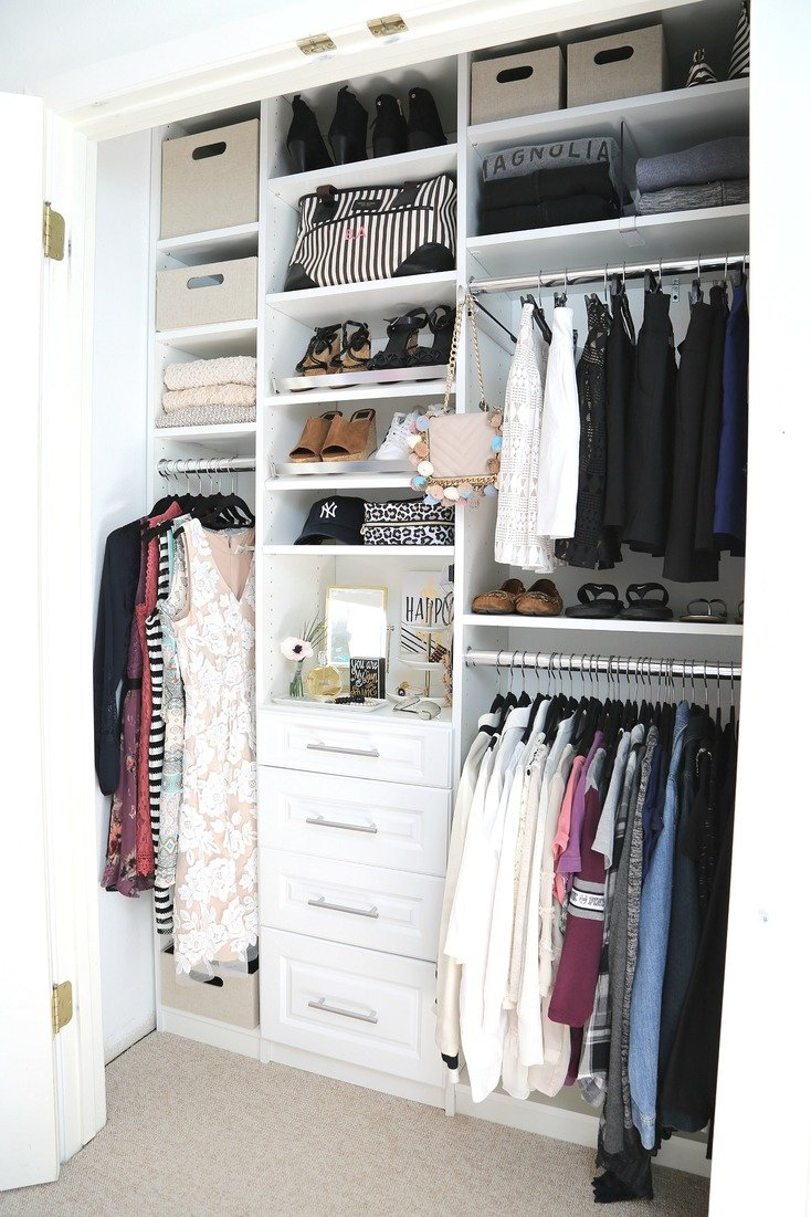 Closet before and after makeover with EasyClosets.