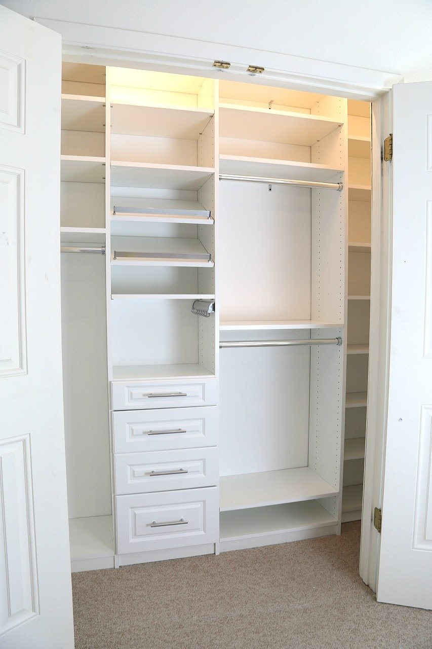 Closet makeover incorporating EasyClosets system