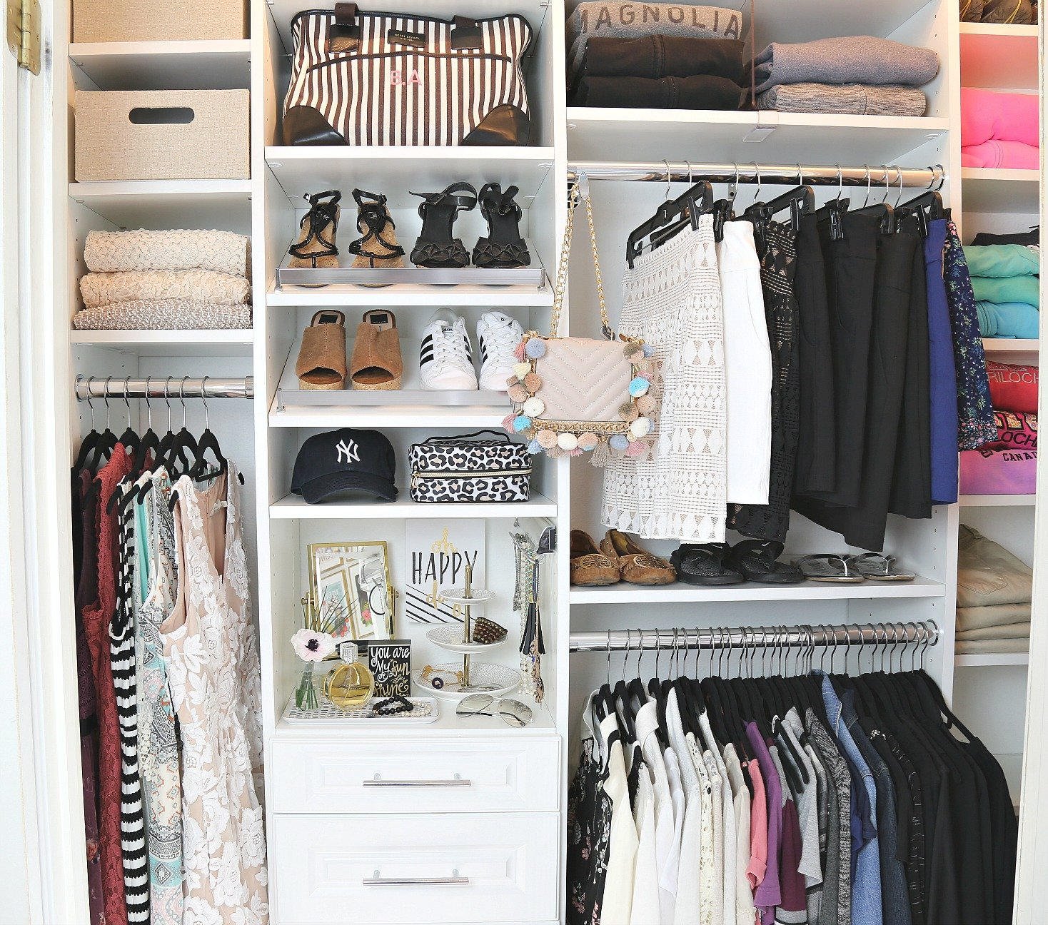 Closet makeover transformation. Before and after with EasyClosets.