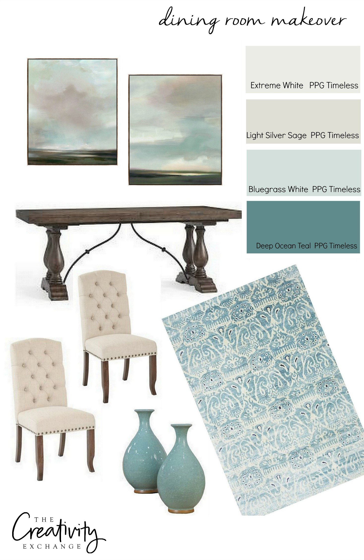 Dining room makeover design board.