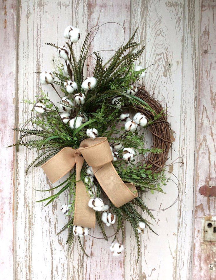 Fall Cotton Branch Wreath