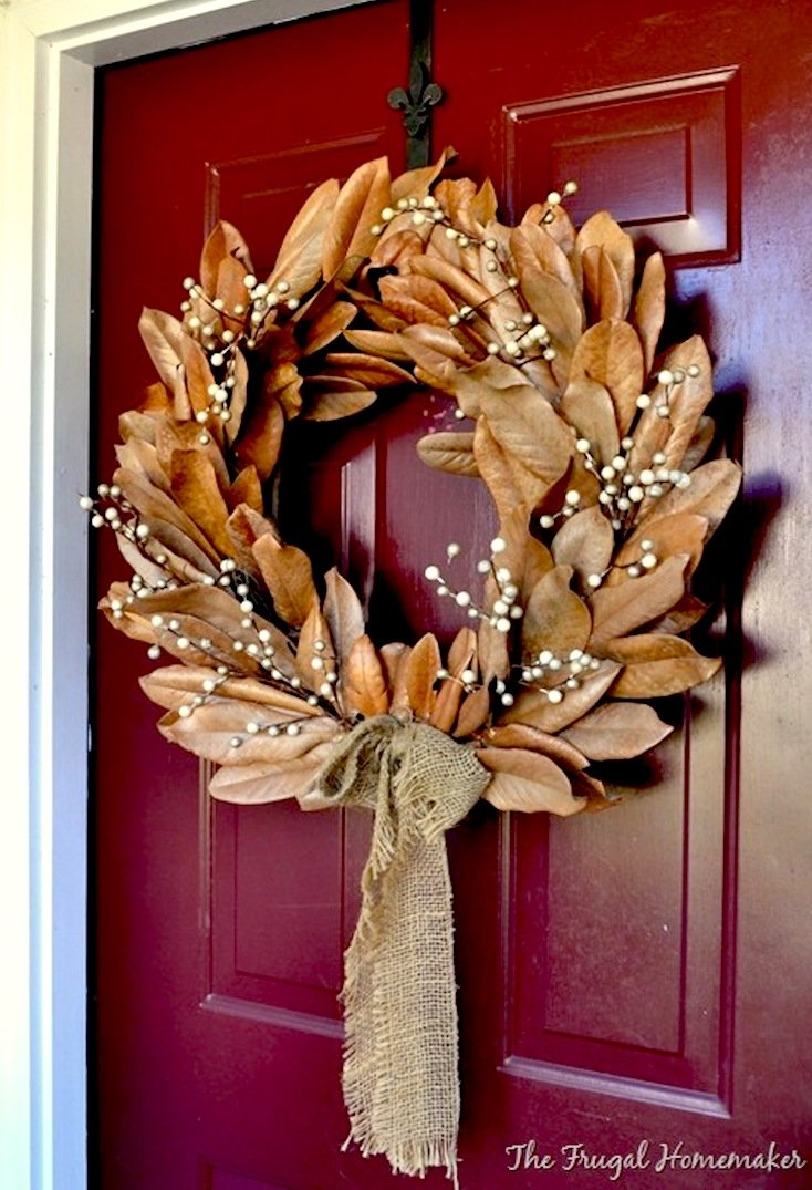 Fall Dried Magnolia Leaf Wreath