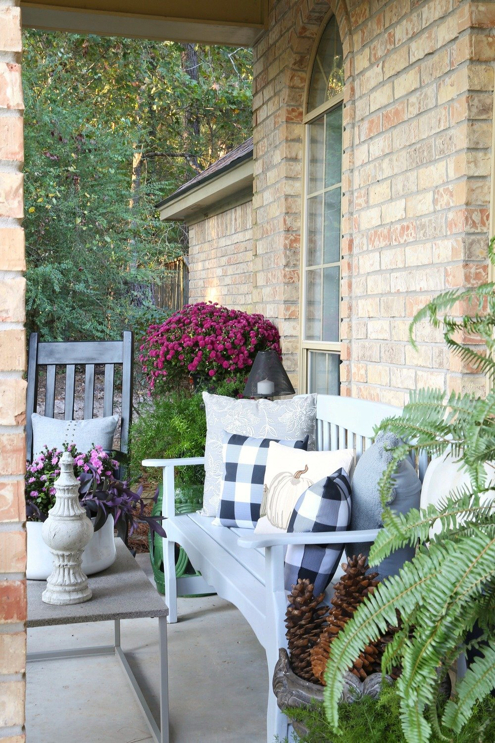 Fall decorating on the porch.