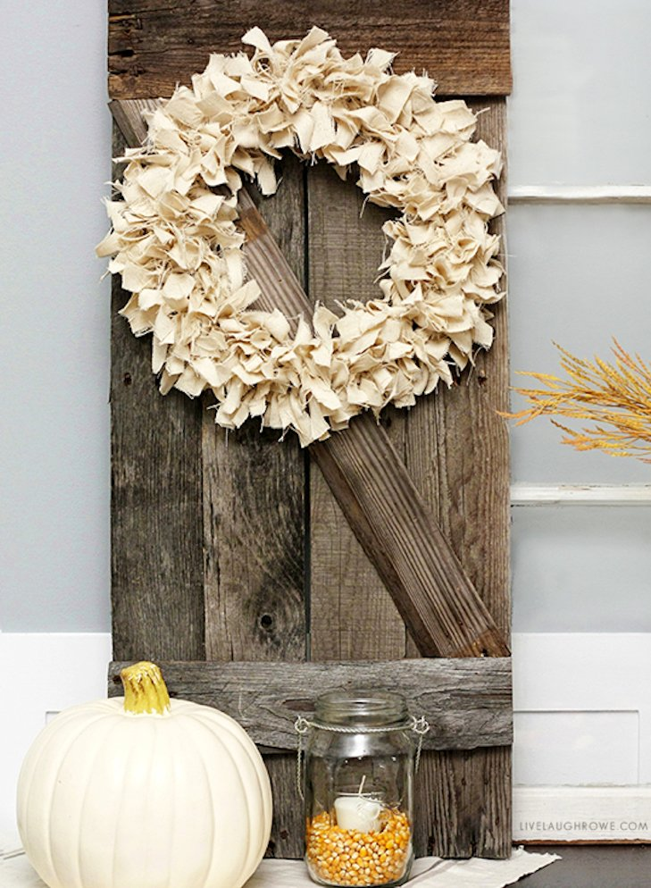 Neutral Fall Drop Cloth Wreath