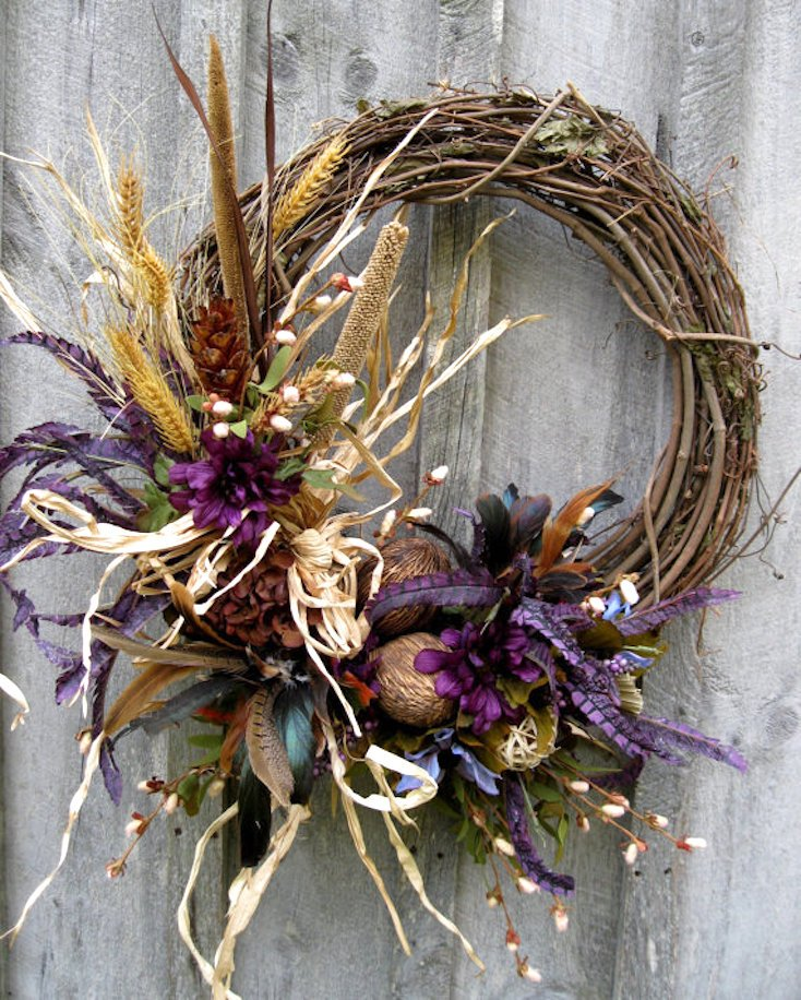 Purple and Turquoise Fall Wreath