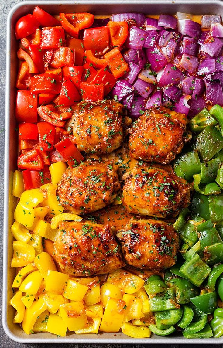 Sheet-Pan Honey Chili Chicken with Veggies