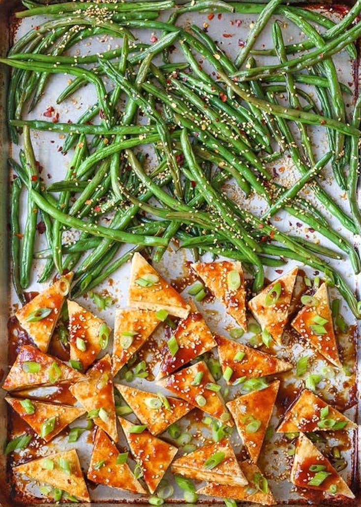 Sheet Pan Honey-Sesame Tofu and Green Beans