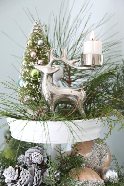 Christmas Decorated Tiered Cake Stand Painted White