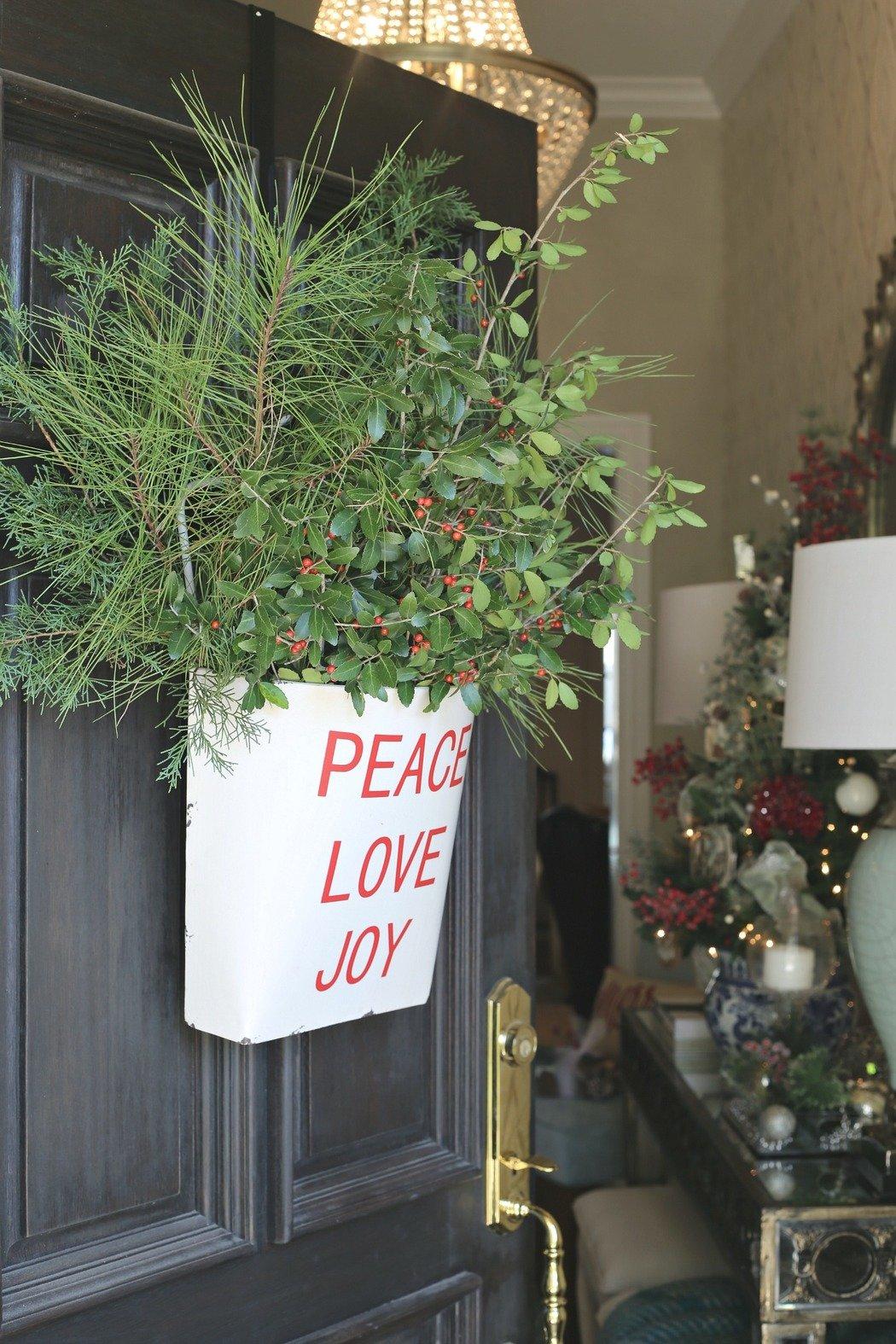 Metal Christmas Wall Bucket Used As A Wreath. Kirklands
