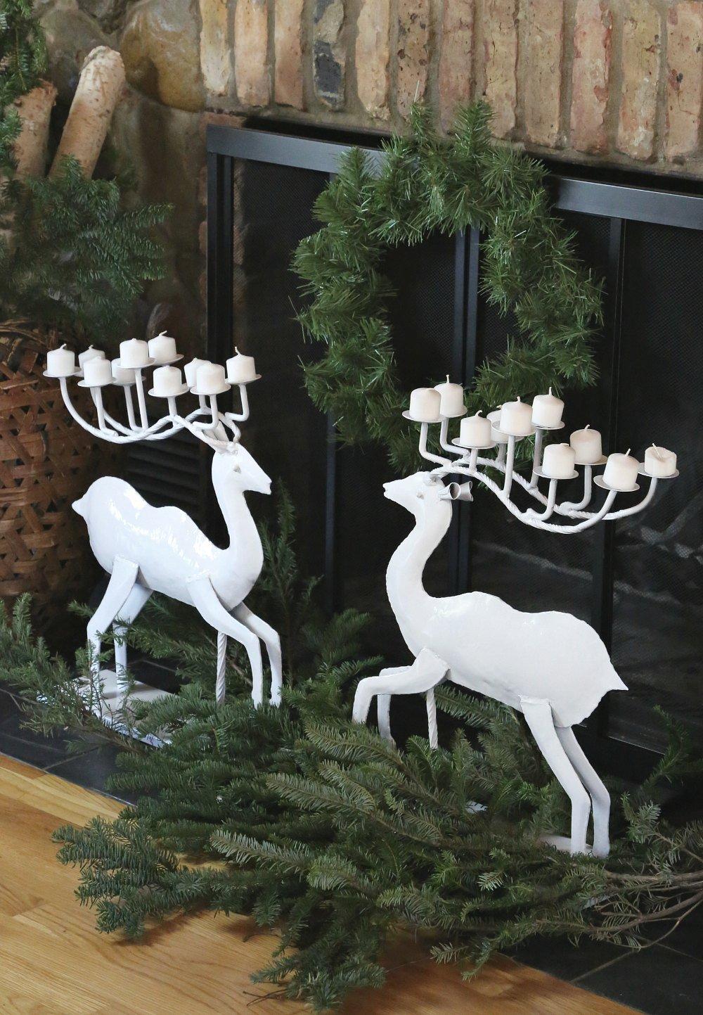 Metal reindeers spray painted with Testors Spray Paint