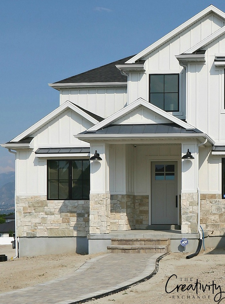 Modern Farmhouse Exterior Design Mixed With Stone Front