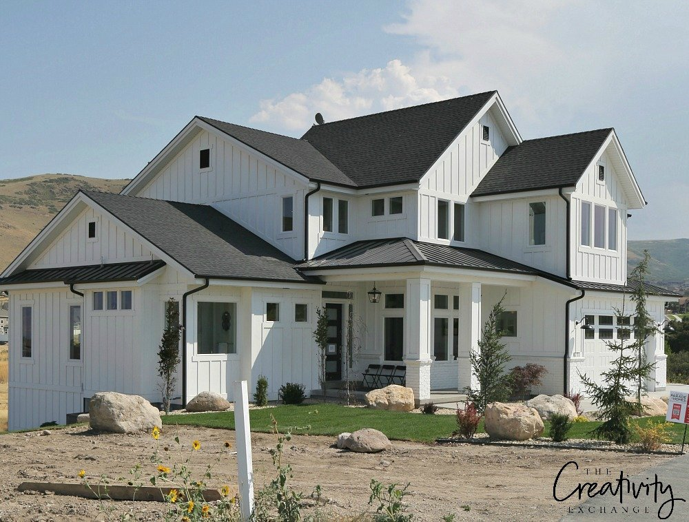 Modern farmhouse exterior two story full shot