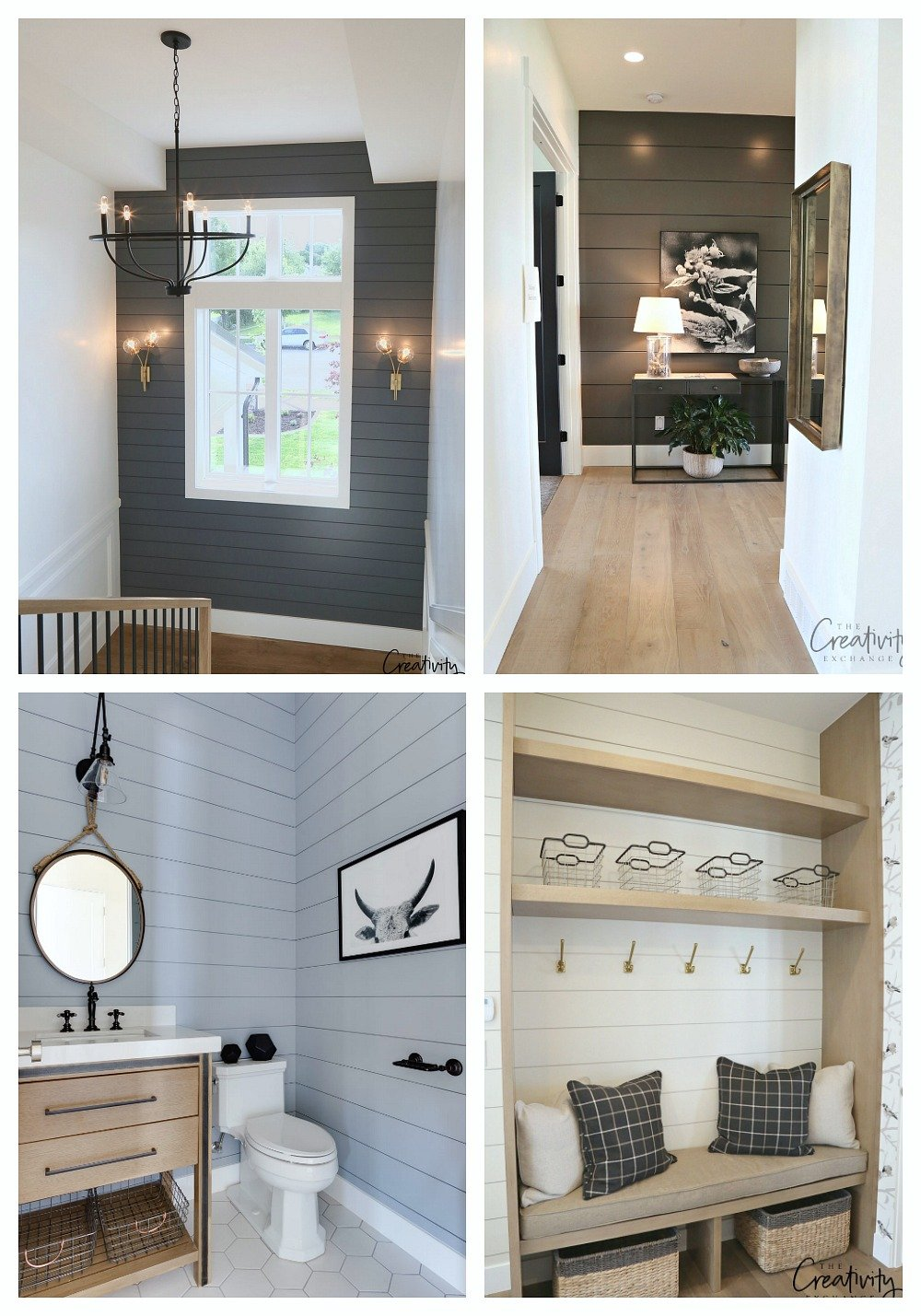 Painted shiplap walls add beautiful drama