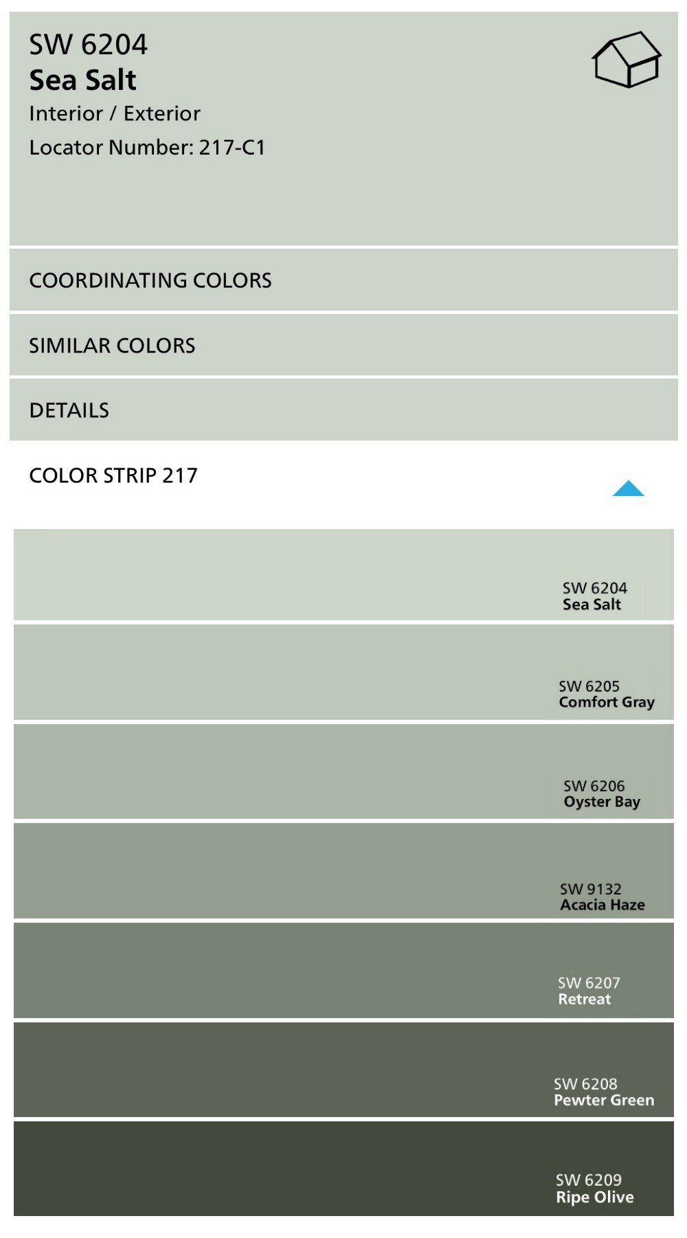Sherwin Williams Color Strip with Sea Salt and Comfort Gray