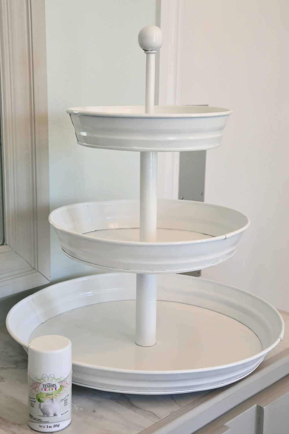 Spray Painted Tiered Metal Serving Stand