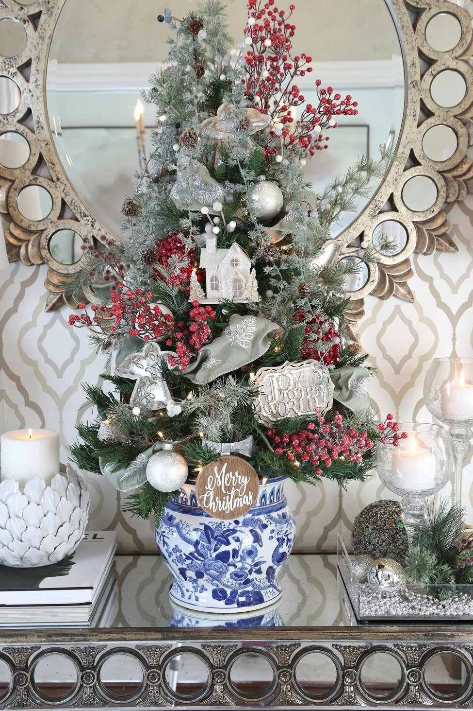 Tabletop Christmas Tree in Blue and White Garden Urn