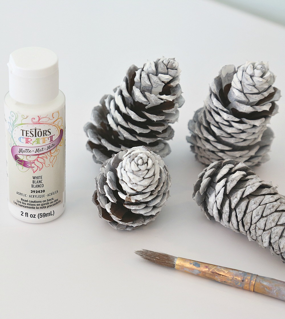Using Testors craft paints to paint pinecones.