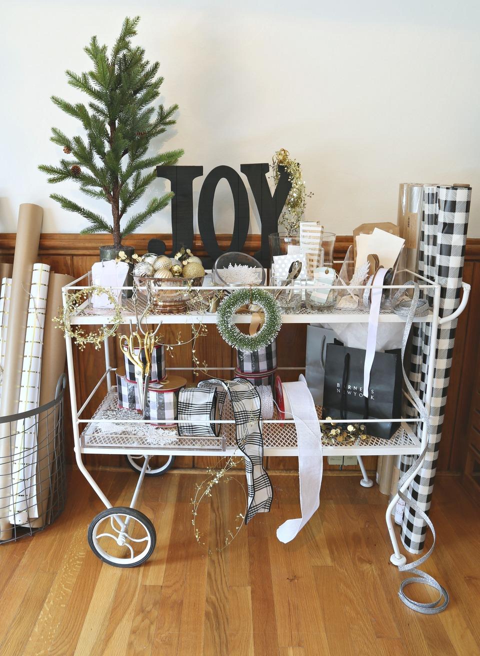 Christmas Gift Wrap Cart Idea