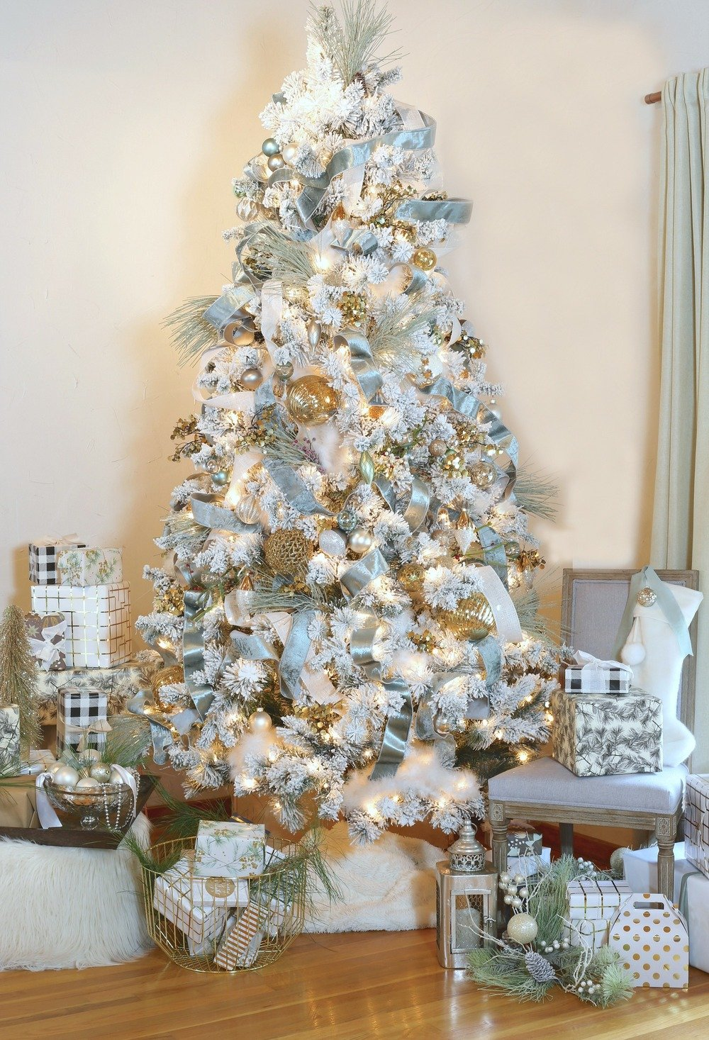 Flocked Christmas Tree with Metallic Ornaments