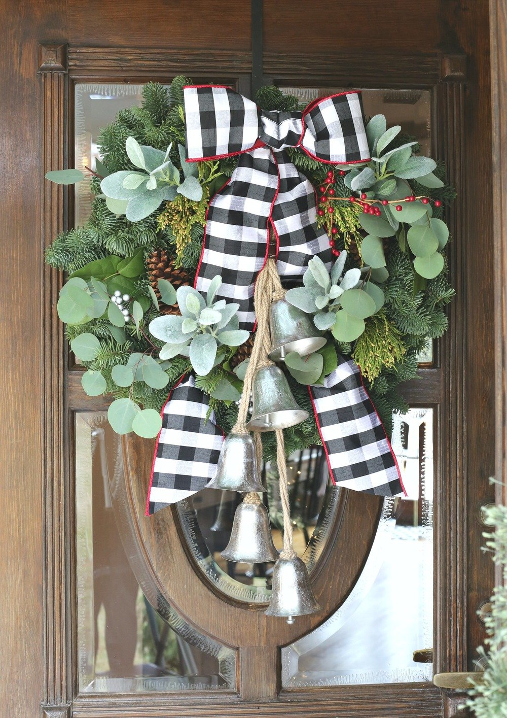 Front door Christmas Wreath and Buffalo Check Bow