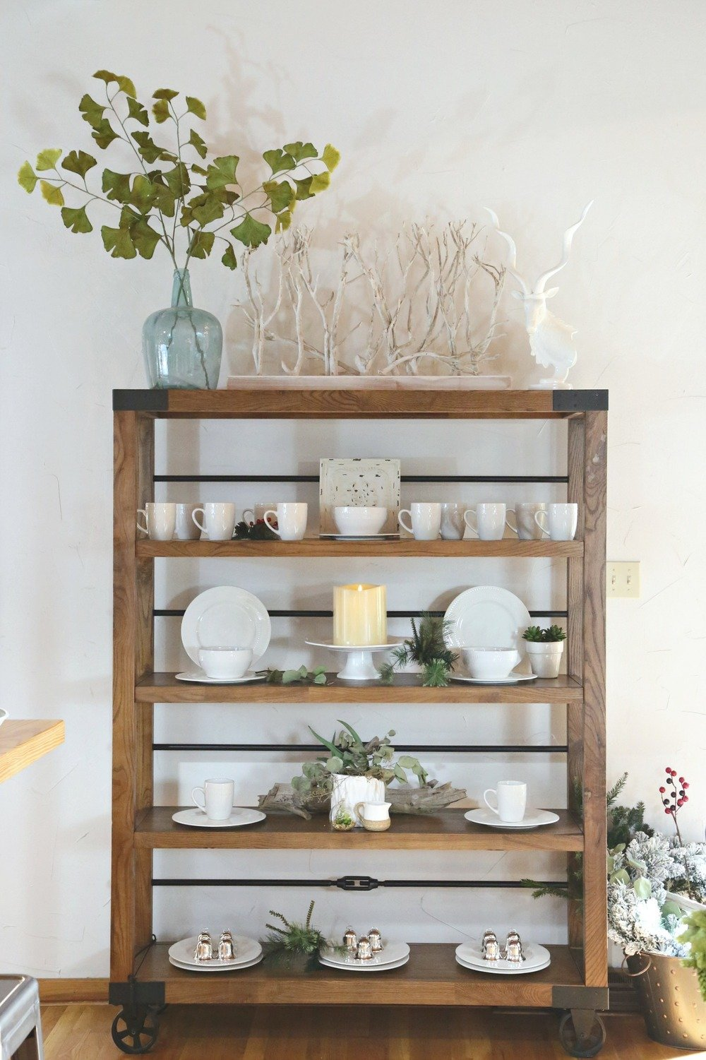 Industrial shelving on wheels decorated.