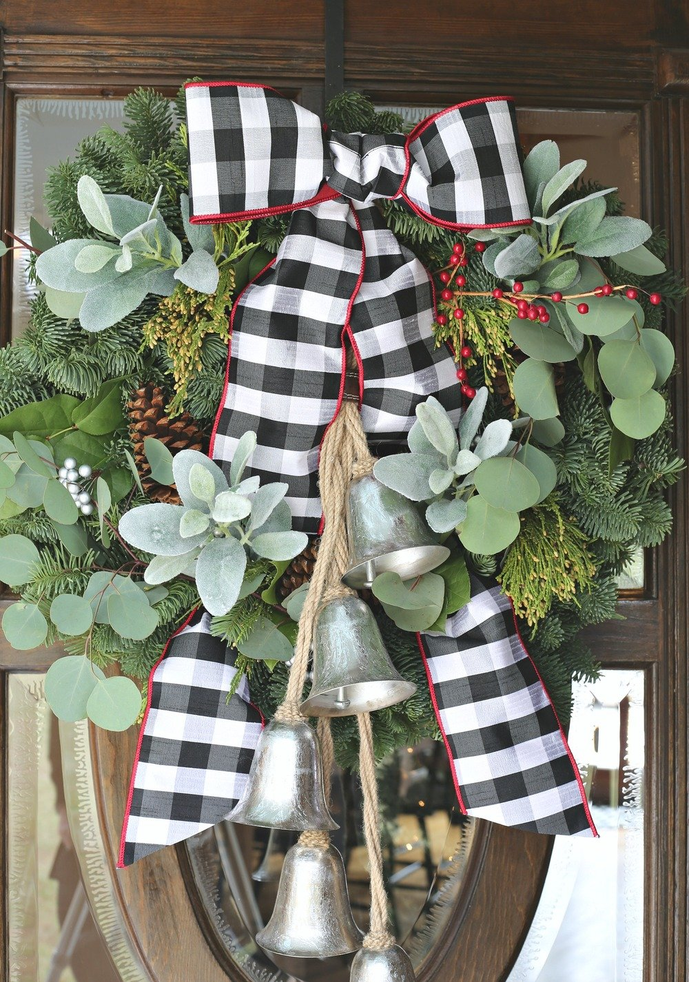 Modern farmhouse Christmas Wreath with Bow