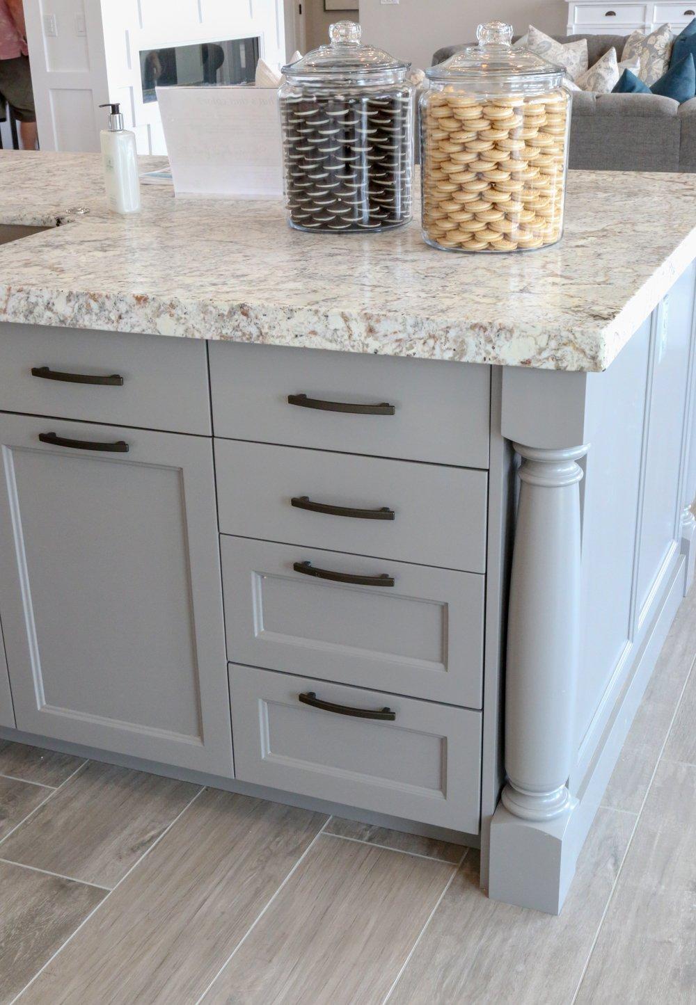 Gray painted kitchen island