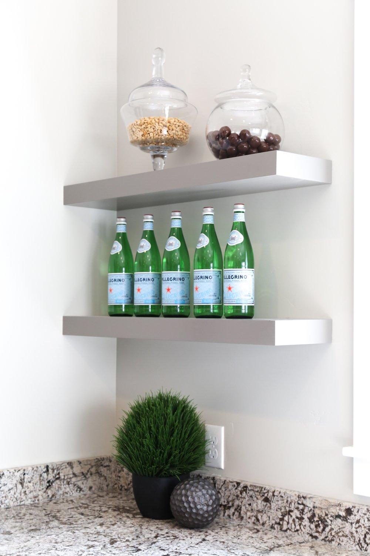 Floating shelves used in bar