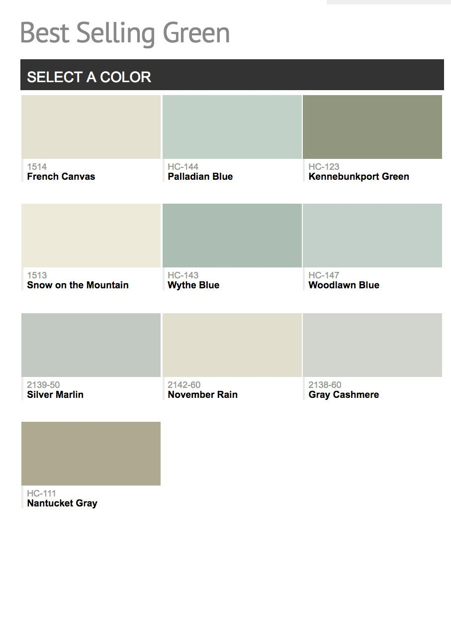 Benjamin Moore Most Por Greens
