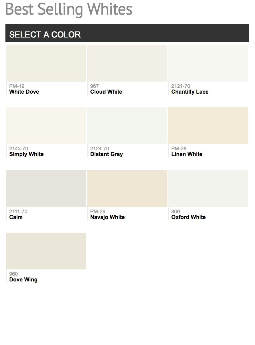 Benjamin Moore Most Por Whites