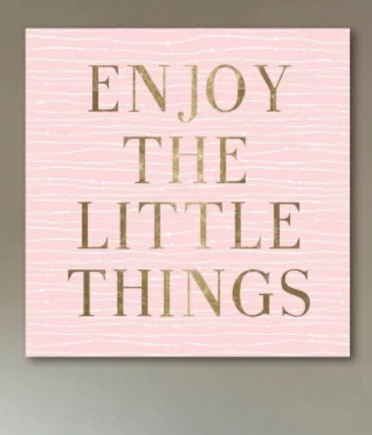 Enjoy the little things quotation art canvas wall decor.