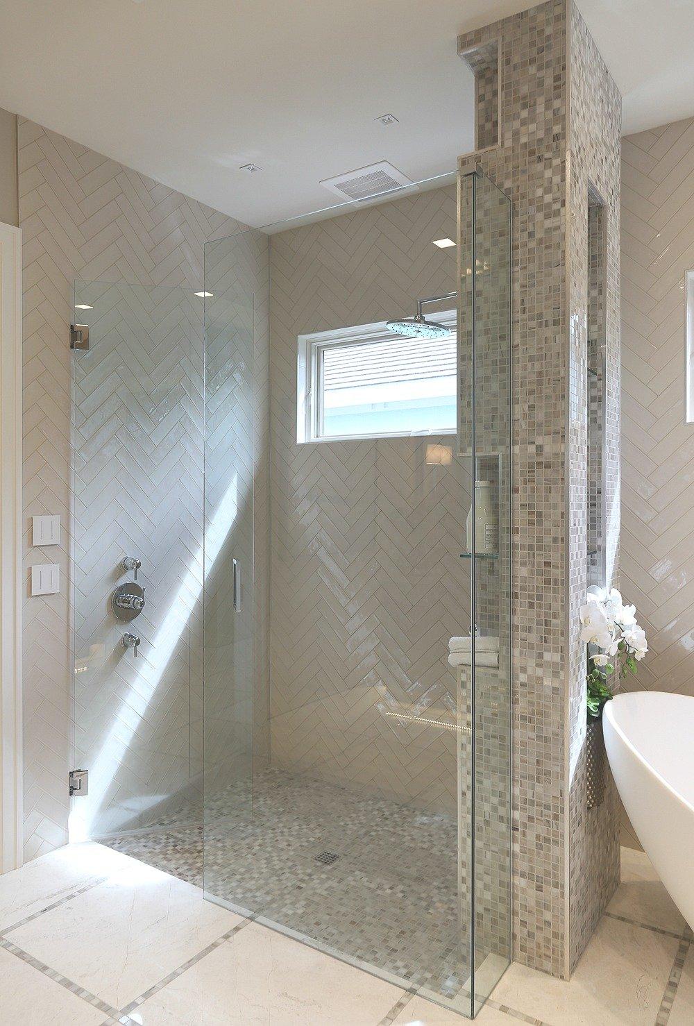 Modern large walk in shower.